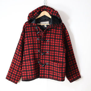 vintage 90s buffalo plaid wool jacket size L retro